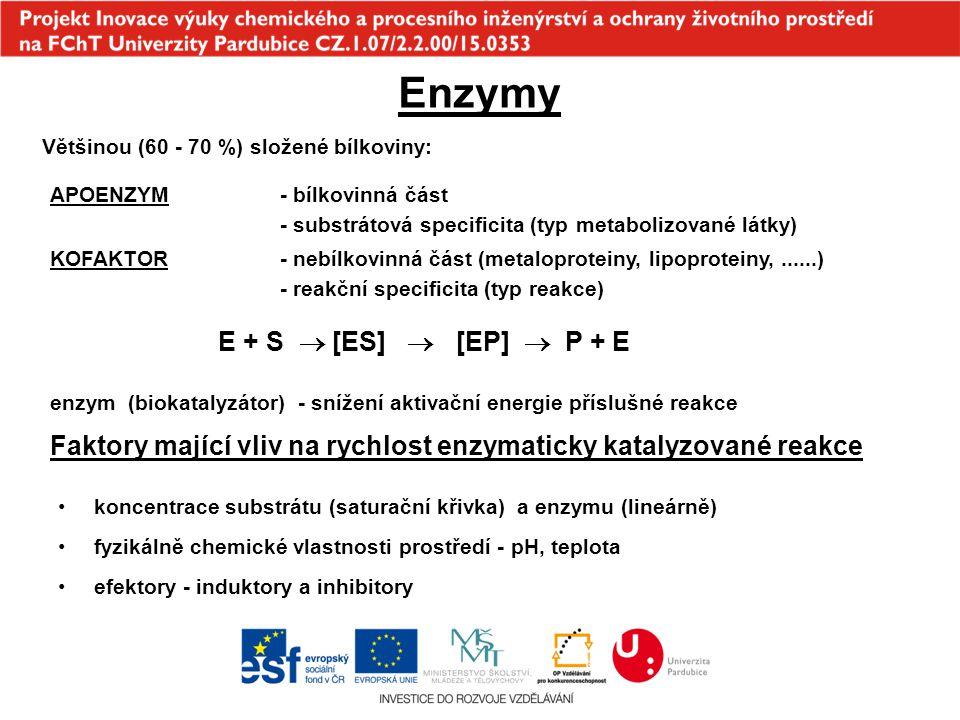 Enzymy E + S  [ES]  [EP]  P + E